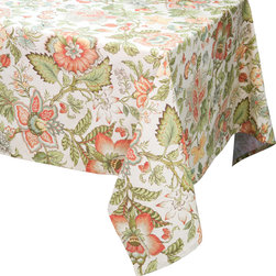 "Enchante Accessories Inc - Raymond Waites Rectangular  Table Cloth - 60""x 84"" (Beige/Multi Flowers) - Premium quality 100% cotton table linen with finished seamExpertly tailored with high quality cotton linenMachine wash in cold with like colors, colors do not bleedFloral patterns with elegant vintage styleMatching napkins availableElegant and functional, these tablecloths serve to dress a table, and to protect it from scratches. Use on dining room tables, banquet tables and restaurants. We carefully select high-quality fabrics and threads to create every table linen. Made from natural materials and dip-dyed with non-toxic dye, the reactive dyeing process makes the table linens a beautiful and solid color while maintaining their natural softness.These gorgeous floral prints invite lively conversations for brunch, lunch, garden parties and casual dining. Made in India of 100% cotton, in deep colors as shown, these exciting tablecloths are beautifully finished with fine printed elegant patterns.These high quality cotton table linens have a wonderfully vintage feel and are a great way to enhance your dining room setting.The Table cloths come in a variety of patterns and colors. They come packaged in a protective plastic button sealed case."
