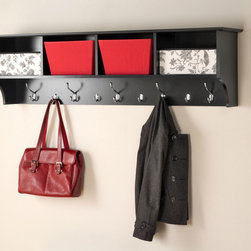 "Prepac Black 60"" Wide Hanging Entryway Shelf - Perfect for an ever-expanding household, the Prepac Black 60"" Wide Hanging Entryway Shelf allows you to keep your entryway belongings in one place! Suitable for any hallway, foyer or entries, the four compartments offers ample storage space to fill them with baskets, gloves, hats and books. Five large and four small hooks provide place to hang coats, jackets, sweaters, bags and purses. It installs easily with our innovative hanging rail system."