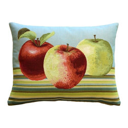Pillow Decor Ltd. - Fresh Apples on Blue Rectangular Throw Pillow - Gala, Pink Lady or Honeycrisp — when you love nature's perfect fruit, you've got to let it show. This fun throw pillow showcases colorful apples on a crisp striped background. Made in French tapestry, it's a sophisticated yet relaxed accent piece that adds a sweet touch of autumn to any room.
