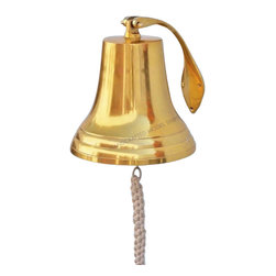 "Handcrafted Model Ships - Brass Hanging Harbor Bell 13"" - Brass Doorbell - Elegantly designed and gleaming with a lustrous shine, this fabulous Brass Hanging Harbor Bell 13"" is equally stunning indoors or out, and is fully functional for actual use on the docks. Enjoy its wonderfully decorative style and distinct, warm nautical tone with each and every resounding ring. Each bell's length is measured from the highest point of its hanger to the lower lip of the bell, while the width is the diameter of the flared bell opening."