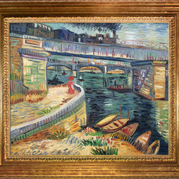"""overstockArt.com - Van Gogh - Bridge Across the Seine at Asnieres Summer - 20"""" X 24"""" Oil Painting On Canvas Hand painted oil reproduction of a famous Van Gogh painting, Bridge Across the Seine at Asnieres Summer . The original masterpiece was created in 1887. Today it has been carefully recreated detail-by-detail, color-by-color to near perfection. Vincent Van Gogh's restless spirit and depressive mental state fired his artistic work with great joy and, sadly, equally great despair. Known as a prolific Post-Impressionist, he produced many paintings that were heavily biographical. This work of art has the same emotions and beauty as the original. Why not grace your home with this reproduced masterpiece? It is sure to bring many admirers!"""
