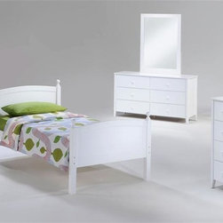 Night & Day Furniture - Licorice Bedroom Set in White - Set includes bed, nightstand, chest, dresser, mirror. 100% Malaysian Rubberwood construction. Warranty: 5 years. White finish. Bed: 57 in. W x 80.6 in. D x 40.9 in. H (39.7 lbs.). Nightstand: 23.6 in. W x 15.7 in. D x 24.6 in. H (29.7 lbs.). Chest: 35.4 in. W x 17.7 in. D x 40.2 in. H (74.8 lbs.). Dresser: 57 in. W x 17.7 in. D x 31.9 in. H (95.2 lbs.). Mirror: 31.1 in. W x 2 in. D x 42.5 in. H (21.8 lbs.)Licorice! Yummy, chewy and so so good. It's sometimes sweet, sometimes salty, sometimes red, but mostly black. Licorice's delightful variations keep it forever a favorite. So naturally, for our timeless Licorice Bed such a tasty confection brings on all its sweet associations.Take care of your kids' needs for beds, bunks and storage with our Zest Bedroom Collection for Night and Day. Smart quality at extraordinary value. We have gone to great lengths to design and engineer this complete line to keep your cost down and your pleasure up.