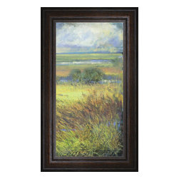 """Posters 2 Prints LLC - Shimmering Marsh II - Shimmering Marsh II by H. Thomas. Canvas Giclee framed with a beautiful 2.125"""" Distressed Brown frame. Our Canvas Giclee product is made using a Giclee printing process that uses up to 12 different color inks that spray onto high quality canvas paper to give a product that looks most like an original painting."""