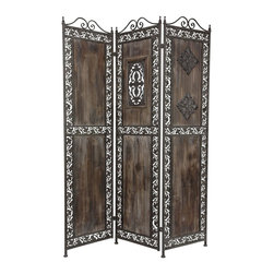 Oriental Furniture - 5 3/4 ft. Tall Antiqued Patina Room Divider - A beautiful three-panel screen room divider, this has been hand-crafted with an Italian style wrought iron frame and distressed, solid wood panels. The antiqued patina on the iron scrollwork adds an air of elegance to this vintage design.