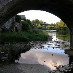 """""""ANCIENT BRIDGE"""" Artwork - A stone bridge -- centuries old -- frames a scene of an old Irish village just south of Dublin.""""  Print is mounted in an acid-free mat -- and is signed and numbered."""