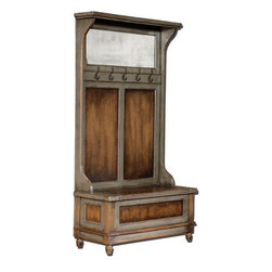 Uttermost - Uttermost - Riyo Hall Tree - 25561 - Uttermost 25561 - Honey stained, solid mango wood with hand painted, distressed charcoal gray accents, aged brass coat hooks and antiqued mirror. Seat lifts with safety hinge for storage.