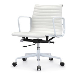 "Meelano - M341 Eames Style Aluminum Groupp Office Chair All White Everything In Leather - Add a healthy pinch of style to your nine-to-five with this sleek Eames-inspired ergonomic chair. A classic of modern design, it's crafted in rich Italian leather and stainless steel for a minimalist look that's majorly attractive. Its ergonomic features and distinctive ribbed seat make it a ""must"" for your harmonious and healthy office."