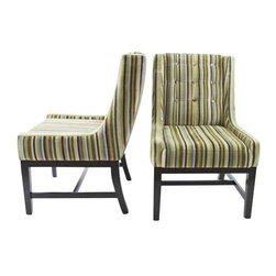 """Pre-owned Vanguard Furniture Velvet Striped Chairs - A Pair - Add this pair of multi-colored plush velvet striped side chairs from Vanguard Furniture to your home for comfort and style.  The tufted back, preppy stripes, and transitional styling make this pair a winner for any room. Seat height measures 19""""."""