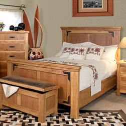 Artisan Home Furniture - Artisan Home Lodge 100 2 Piece Panel Bedroom Set - Cottonwood and Alder give this Bedroom Collection additional strength  durability and beauty. Wood tone lacquer coating gives depth  color and clarity to this outstanding bedroom. Dovetail hardwood drawers provide additional strength. All drawers feature full extension glides for easy operation. Enjoy casual elegance every night with your own Lodge Bedroom  a mountain retreat atmosphere in your home.