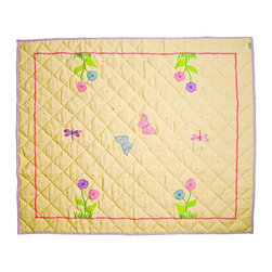 """Wingreen - WinGreen Small Butterfly Cottage Floor Quilt - Our Butterfly Floor Quilt is appliqued and embroidered with pretty butterflies, dragonflies and flowers. These lightly padded floor quilts are designed to fit the base of WinGreen Butterfly Cottage Playhouses. They also make great rugs or playmats. Machine washable. Available in 2 sizes. Small: 43.30"""" x 29.13"""" and Large: 52.75"""" x 43.30"""""""