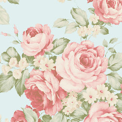 Large Scale Floral Roses in Teal - AB27615 - Collection:Abby Rose 2