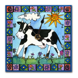 Cow Wall Clock - The Cow Clock is hand made in our studio, from a print of an original watercolor. The print is dry mounted onto black foam board and heat-sealed with a protective laminate, so it looks just like tile but is so light it can be hung on a pushpin. It has a hanger on the back and comes in a gift box. The quartz movement runs on a single AA battery. (Be sure to look for our Cow alarm clock and Farm magnets, too!)