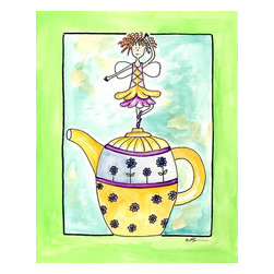 Oh How Cute Kids by Serena Bowman - Purple Flower Teapot Fairy, Ready To Hang Canvas Kid's Wall Decor, 11 X 14 - Each kid is unique in his/her own way, so why shouldn't their wall decor be as well! With our extensive selection of canvas wall art for kids, from princesses to spaceships, from cowboys to traveling girls, we'll help you find that perfect piece for your special one.  Or you can fill the entire room with our imaginative art; every canvas is part of a coordinated series, an easy way to provide a complete and unified look for any room.