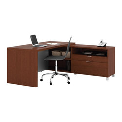 Bestar - Bestar Pro-Linea L-shaped Kit in Cognac - Bestar - Executive Desks - 12085176 - The clean lines of this collection bring a fresh look without compromising functionality and durability. Combining thick work surfaces silver metal legs and two tiers of work surfaces Pro-Linea has all the elements to create a modern and refined work environment.