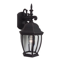 Exteriors - Exteriors Cast Aluminum Bent Glass Outdoor Wall Sconce - Medium X-70-482Z - The Craftmade Cast Alumuninum Bent Glass Outdoor Wall Sconce with a black finish and clear bold lines is the perfect accent for your front porch, garden, or garage. The clear beveled glass provides clear illumination and the Craftmade brand ensures durability. This sconce is where tradition meets ease.