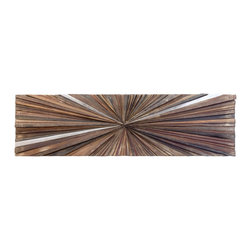 Rotsen Furniture - Ferpas Rectangle Wall Sculpture - Bring one-of-a-kind artistic flair to your favorite setting while keeping true to your ecoconscious spirit. This remarkable mosaic is created from scraps of salvaged wood and polished aluminum to make a dramatic statement in your contemporary decor.