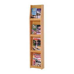 8 Pocket Vertical Literature Display - Keep reading material and sales brochures in their place with the 8-Pocket Vertical Literature Display. This elegant unit is constructed with solid oak sides and an oak veneer back and is available in your choice of durable state-of-the-art light oak medium oak and red mahogany finishes. A slanted back shelf gives you a full view of your literature selection while keeping it neat and organized. Removable dividers allow you to display both brochures and magazines in a way that's suited to your specific needs. This display comes predrilled and includes hardware for simple wall mounting as well as an attachable stand for floor use. Its smaller size fits well in modest spaces and its clean lines and simple design work well with nearly any decor. Measures 10.5W x 7.5D x 49H inches.About Wooden MalletFor over 20 years Wooden Mallet has been turning Northern Red Oak into beautiful and functional American-made wood products for commercial and residential settings. Wooden Mallet manufactures and distributes various styles of magazine and brochure display racks chart holders luggage racks coat and hat racks and reception chairs and tables crafted from solid oak sides and components. In addition to a technological manufacturing process Wooden Mallet also employs a unique finishing process using ultraviolet light to cure the finish into the wood for a more durable lasting finish. This process meets the emission standards set by the Environment Protection Agency. For the past 10 years Wooden Mallet has ranked consistently in the top 100 of the Wood & Wood Products Wood 100 Annual Report for Solid Wood and Panel Technology.