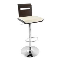 "Lumisource - Viera Bar Stool, Wenge/White - 19"" L x 20.5"" W x 34.5 - 42"" H"