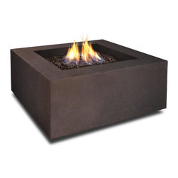 Realflame - Real Flame Baltic Square Fire Table in Kodiak Brown - Define your outdoor space with the clean design of a Real Flame Baltic square ?re table. Cast from a high performance, lightweight ?ber-concrete that is tinted to the ?nish color for increased outdoor durability. This ?re table comes complete with lava rock ?ller, and a matching lid for when the burner is not in use. The Baltic Collection carries a CSA Certifiedcation and features an electronic ignition. Collection available in Glacier Gray or Kodiak Brown ?nishes. Concrete material color will be accurate but Actual ?nish will vary from photoFeatures:Burns Liquid Propane, rated at up to 50,000 BTUs of heat