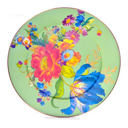 Flower Market Enamel Serving Platter - Green | MacKenzie-Childs - What a dilemma. Platters so strikingly pretty you don't want to cover them up, but so perfectly practical and versatile you can't help but pile them high with lemon squares. Color glazed in black, blue, green, white or plum, each Flower Market Enamel Platter is decorated- on both sides—with hand-applied fanciful botanical transfers that recall a lush English garden in the peak of summer. These platters make the party, and a delightful gift (don't forget the lemon squares).