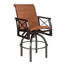 Woodard Andover Padded Sling High Back Counter Stool - Add comfortable seating to your outdoor dining area with the Woodard Andover Padded Sling High Back Counter Stool. You'll love inviting friends over for a late-night drink around your table while enjoying the warm summer night and clear, starry sky. With its sophisticated design, luxurious comfort, and excellent craftsmanship, this stool is made to last. Available in your choice of rich, beautiful finishes which seals in the quality of the aluminum, you can easily complement your existing patio furniture. Quick-drying, padded sling fabric, which is ideal for poolside dining, won't fade and is also weather-resistant. Choose the perfect color of fabric to accent your existing decor, whether you prefer deep, earth-tones, soft neutrals, or vibrant colors. This counter stool is crafted from the strongest, purest aluminum available and the cast aluminum frame features a wall thickness that far surpasses industry standards. Classic meets contemporary style in the clean lines and simple design of this stool. Whether you're looking for seating for your patio dining table or for your patio bar, this counter stool is a sophisticated addition to your patio decor.Woodard: Hand-crafted to Withstand the Test of TimeFor over 140 years, Woodard craftsmen have designed and manufactured products loyal to the timeless art of quality furniture construction. Using the age-old art of hand-forming and the latest in high-tech manufacturing, Woodard remains committed to creating products that will provide years of enjoyment.Superior Materials for Lasting DurabilityIn the Aluminum Collections, Woodard's trademark for excellence begins with a core of seamless, virgin aluminum: the heaviest, purest, and strongest available. The wall thickness of Woodard frames surpasses the industry's most rigid standards. Cast aluminum furniture is constructed using only the highest grade aluminum ingots, which are the purest and most resilient aluminum alloys available. These alloys strengthen the furniture and simultaneously render it malleable. The end result is a fusion of durability and beauty that places Woodard Aluminum furniture in a league of its own.Fabric, Finish, and Strap Features All fabric, finish, and straps are manufactured and applied with the legendary Woodard standard of excellence. Each collection offers a variety of frame finishes that seal in quality while providing color choices to suit any taste. Current finishing processes are monitored for thickness, adhesion, color match, gloss, rust-resistance and, and proper curing. Fabrics go through extensive testing for durability and application, as well as proper pattern, weave, and wear.Most Woodard furniture is assembled by experienced professionals before being shipped. That means you can enjoy your furniture immediately and with confidence.Together, these elements set Woodard furniture apart from all others. When you purchase Woodard, you purchase a history of quality and excellence, and furniture that will last well into the future.
