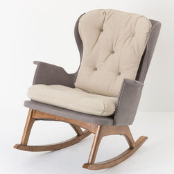 Finn Rocker - A midcentury modern-inspired piece for relaxing afternoons or midnight hours spent with your little one. The cushioned seat and tufted back are set atop simple, hardwood rockers and upholstered in full-grain lager leather or luxurious linen.