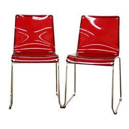 Baxton Studio - Baxton Studio Lino Transparent Red Acrylic Accent Chair Dining Chair (Set of 2) - These vividly-colored modern dining chairs will instantly change the look of your room - for the better! With a chrome-finished steel frame and heavy-duty acrylic seat, these minimalistic chairs are sturdily and dependably built. The seat top is transparent red.  Included for each chair are four black plastic floor protectors, which also stabilize the chair. This chair is stackable, and will arrive fully assembled.