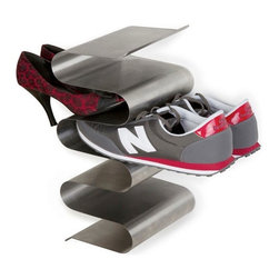 j-me design - Nest Shoe Rack, Wall Mounted - The Nest Shoe Rack is one of the most stylish and convenient ways to store your shoes! It comes in either a wall mounted or free standing version - both of which hold your shoes without compromising that precious living room or entry way space. Its super sleek design allows you to grab your shoes quickly and easily. Both styles of the Nest Shoe Rack can hold up to six (6) pairs of shoes.