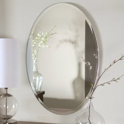 Hiltonia Oval Bevel Frameless Wall Mirror - 24W x 36H in.