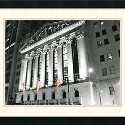 Amanti Art - New York Stock Exchange at Night Framed Print by Phil Maier - The majesty of this legendary landmark is captured by photographer Phil Maier in this fine art print.