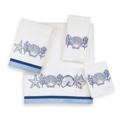 Avanti - Avanti Nassau Bath Towel in White - Bath towels with blue and white shell embroidery on a white ground will add a simple yet stylish touch to your decor. Two-tone blue fabric bands accent the bath and hand towels perfectly.