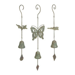 "IMAX CORPORATION - Nalia Cast Iron Butterfly Wind Chimes - Set of 3 - With a faux verdigris finish, the Nalia cast iron butterfly wind chimes add a peaceful sound to any outdoor area. Set of 3 in various sizes measuring around 8""L x 6.5""W x 10""H each. Shop home furnishings, decor, and accessories from Posh Urban Furnishings. Beautiful, stylish furniture and decor that will brighten your home instantly. Shop modern, traditional, vintage, and world designs."