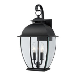 Quoizel - Quoizel Bain Outdoor Wall Lantern X-K9048NAB - The mystic black finish of this Quoizel Lighting outdoor wall lantern effortlessly compliments the classic lantern styling, making this a welcome addition to any outdoor space. From the Bain Collection, this classic lantern design features candelabra lights, curvilinear detailing and a charming cupola that completes the look. Clear glass panels ensure ample outdoor security lighting.