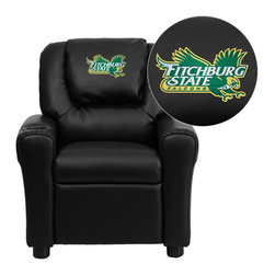 """Flash Furniture - Fitchburg State University Falcons Black Leather Kids Recliner with Cup Holder a - Get young kids in the college spirit with this embroidered college recliner. Kids will now be able to enjoy the comfort that adults experience with a comfortable recliner that was made just for them! This chair features a strong wood frame with soft foam and then enveloped in durable leather upholstery for your active child. This petite sized recliner is highlighted with a cup holder in the arm to rest their drink during their favorite show or while reading a book. Fitchburg State University Embroidered Kids Recliner; Embroidered Applique on Oversized Headrest; Overstuffed Padding for Comfort; Easy to Clean Upholstery with Damp Cloth; Cup Holder in armrest; Solid Hardwood Frame; Raised Black Plastic Feet; Intended use for Children Ages 3-9; 90 lb. Weight Limit; CA117 Fire Retardant Foam; Black LeatherSoft Upholstery; LeatherSoft is leather and polyurethane for added Softness and Durability; Safety Feature: Will not recline unless child is in seated position and pulls ottoman 1"""" out and then reclines; Safety Feature: Will not recline unless child is in seated position and pulls ottoman 1"""" out and then reclines; Overall dimensions: 24""""W x 21.5"""" - 36.5""""D x 27""""H"""