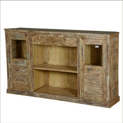 ... lots of storage with two 2-shelf side cabinets and an extra wide open