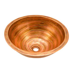 """Artesano Copper Sinks - Round Double Wall Vessel Bathroom Copper Sink - Round Double Wall Vessel Bathroom Copper Sink 17 x 7 for Over the Counter or Vessel installation, all hand made, all copper, all hammered, rim is 1"""", drain is 1.5"""", inside is 15 x 6"""""""