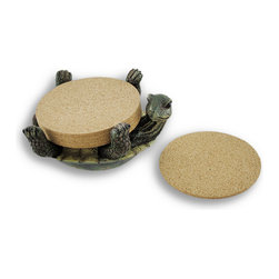 Zeckos - 6 Cork Coaster Set with Turtle Holder - This cute coaster set adds a decorative accent to any table in your home, subtly encouraging guests to place coasters under their beverages. The coaster holder is a detailed turtle on his back, containing the 6 cork coasters with his legs. Each coaster measures 3 1/2 inches in diameter, 1/8 of an inch thick, and the resin turtle measures 5 inches long, 2 inches high, and 4 inches wide. This coaster set makes a great gift for turtle lovers that is sure to be admired.