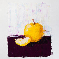 Shimmering Yellow Apple (Original) by Eric Buchmann - One of my original oil still life fruit paintings, this one featuring a yellow apple with a creamy white center on a purple and white background.