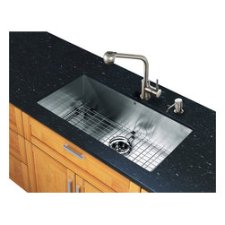 Vigo Industries - 32 in. Stainless Steel Sink and Faucet Set - Includes sink, faucet, soap dispenser, matching bottom grid, sink strainer, all mounting hardware and hot-cold waterlines.