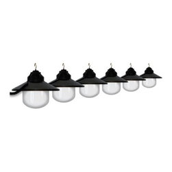 Polymer Products LLC Six Globe String Light Set - Black - On trend and with a clean, modern look, string lights are an easy way to add flair and fun to your outdoor decor. Light up the outdoors with this weather-resistant Polymer Products LLC Six Globe String Light Set - Black. It's perfect for decoration or functional lighting. Great for decks, patios, porches, awnings, and recreational vehicles. Includes 20-ft. power cord and hanging hooks for installation. What exactly is polycarbonate lighting? Polycarbonate is resistant to shattering, so it's perfect for outdoor lighting. It's UL/cUL-approved and is a great weather-resistant choice in lighting. Polymer Products proudly make their polycarbonate lighting here in the USA.