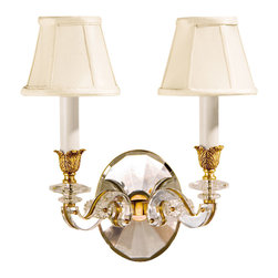 """Inviting Home - Brass and Crystal Sconce - antique brass and crystal sconce; 12-1/4""""W x 7""""D x 13-1/2""""H; Two-light electrified solid brass sconce hand-crafted with solid crystal. Wall sconce has an antique finish and round piped fabric shades. Crystal wall sconce is designed for use with candelabra bulbs only. UL approved - dry location; hardwire; 2x candelabra bulb; bulbs not included."""