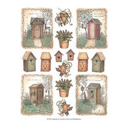 IdeaStix - Outhouses 2-Sheet IdeaStix Accents Peel and Stick - IdeaStix Accents transform ordinary tiles, mugs, containers and such into beautiful art decorations.  Made from proprietary rubber-resin, Premium Peel and Stick Decor Accent 30 pieces are made in the shape of the design motif and come on 2 sheets (7.5 x 10.5 inches) and offer Quick and Easy solution for accentuating so many things.  With features like microwave safe, water/heat/steam-resistant, nontoxic, washable, removable and reusable, they are ideal for kitchen backsplash and bath/shower tile cecoration and also are great as labels for smooth and non-porous surfaces of plastic and glass containers, canisters, mugs, etc.  You can write on them with permanent markers.  IdeaStix Accents are probably the only products that have all these unique and wonderful features.