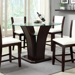 Furniture of America - Furniture of America Carlise Contemporary Round Counter Height Glass 5-piece Din - Entertain guests in style with this five-piece dining set. The counter-height glass table creates a dramatic flair for your home, while the leatherette chairs bring comfort to mealtime. This set comes in a dark cherry finish for a contemporary look.