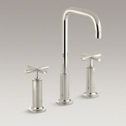 KOHLER - KOHLER Purist(R) widespread bathroom sink faucet with high cross handles and hig - Combining architectural forms with sensual design lines, Purist faucets and accessories bring a touch of modern elegance to your bathroom. This sink faucet exemplifies the Purist collection�s understated style, with its high gooseneck spout and high cross