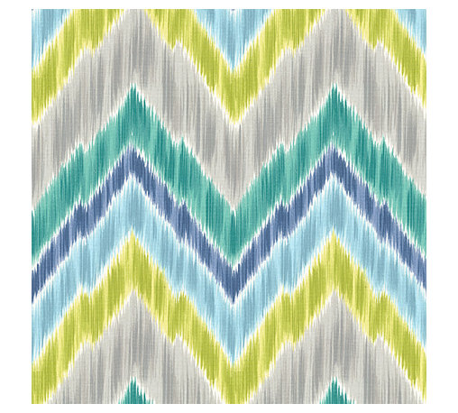 Green & Lime Large Ikat Chevron Fabric - Giant ikat chevron in bright blue, greens, & grays on smooth sateen. This flamestitch will set your decor ablaze.Recover your chair. Upholster a wall. Create a framed piece of art. Sew your own home accent. Whatever your decorating project, Loom's gorgeous, designer fabrics by the yard are up to the challenge!