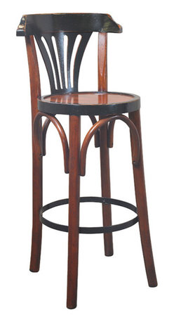 """Inviting Home - de Luxe Black Barstool, Honey - The design of our tall brasserie accessory goes back to the late 19th C. when bentwood furniture was developed in Vienna and exported across Europe and the rest of the world; 15""""dia. x 40""""H The design of our tall brasserie accessory goes back to the late 19th century when bentwood furniture was developed in Vienna and exported across Europe and the rest of the world. Timeless in style and sturdy in construction many have survived ages. And this hand-made barstool will follow the same tradition when handled with love and care."""