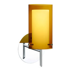 Besa Lighting - Pahu Chrome One-Light Halogen Wall Sconce with Transparent Armagnac and Opal Gla - - The Trans-Armagnac colored blown glass complements the soft white Opal cased glass, which can suit any classic or modern decor. Opal has a very tranquil glow that is pleasing in appearance, as the Trans-Armagnac glass sparkles with the accents from that glow. The smooth satin finish on the opal?s outer layer is a result of an extensive etching process. This blown glass combination is handcrafted by a skilled artisan, utilizing century-old techniques passed down from generation to generation.  - Bulbs Included  - Shade Ht (In): 7  - Shade Wd/Dia (In): 4  - Canopy/Fitter Ht (In): 5  - Canopy/Fitter Dia/Wd (In): 5  - Title XXIV compliant  - Primary Metal Composition: Steel  - Shade Material: Glass  - NOTICE: Due to the artistic nature of art glass, each piece is uniquely beautiful and may all differ slightly if ordering in multiples. Some glass decors may have a different appearance when illuminated. Many of our glasses are handmade and will have variances in their decors. Color, patterning, air bubbles and vibrancy of the d�cor may also appear differently when the fixture is lit and unlit. Besa Lighting - 1SW-G44007-CR