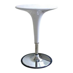 Wholesale Interiors - Nu White Table - Table constructed of steel tubing and is made of white ABS plastic that comes in a variety of colors. Raising and lowering the table base is made simple with the gas hydraulic piston system. From its futuristic curves to its shiny vintage chrome the Clyde Adjustable Height Pub Table adds contemporary cool to your rec room or kitchen. Made of steel tubing and ABS plastic this pub table has a chrome-finished base and a tabletop that comes in your choice of colors. The rubber-lined base grips the floor and helps prevent tipping while the gas hydraulic piston system makes raising and lowering the table base easy. It adjusts in height from 25 to 35 inches.