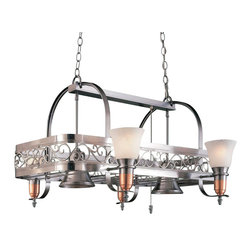 Hi-Lite MFG - Odysee 36 in. Pot Rack in Satin Steel and Copper Finish - Includes six pot rack hooks. Bulbs not included. Six-lite pot rack. UL listed. Marble glass. Six 100W MED INC for lamps. Made from steel. 36 in. L x 29 in. W x 21 in. HHi-Lite achieved success through attention to detail and stubbornness to only manufacturer the highest quality product. Hi-Lite has built its reputation as a premier lighting manufacturer by using only the finest raw materials, inspirational designs, and unparalleled service. This allows us great flexibility with our designs as well as offering you the unique ability to have your custom designs brought to Light.