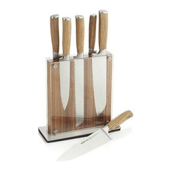 Schmidt Brothers® 7-Piece Zebra Wood Knife Block Set - Contemporary design with a view-through magnetic storage block and striking zebra wood block and handles distinguishes this sophisticated cutlery collection. Knife blades are fully forged German stainless steel with an 18-degree angle and West African wood handles that will develop a rich patina over time. The universal block stands upright, displaying this and other cutlery clearly while protecting it behind acrylic panels. Block set offers and knife for every need. Zebra wood's medium to coarse texture and interlocking grain makes a natural for tool handles and develops a rich patina over time.